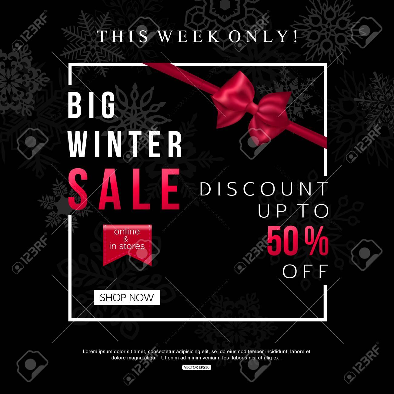 Black Winter Sale Banner design for shop, oline store. Vector illustration - 67183043