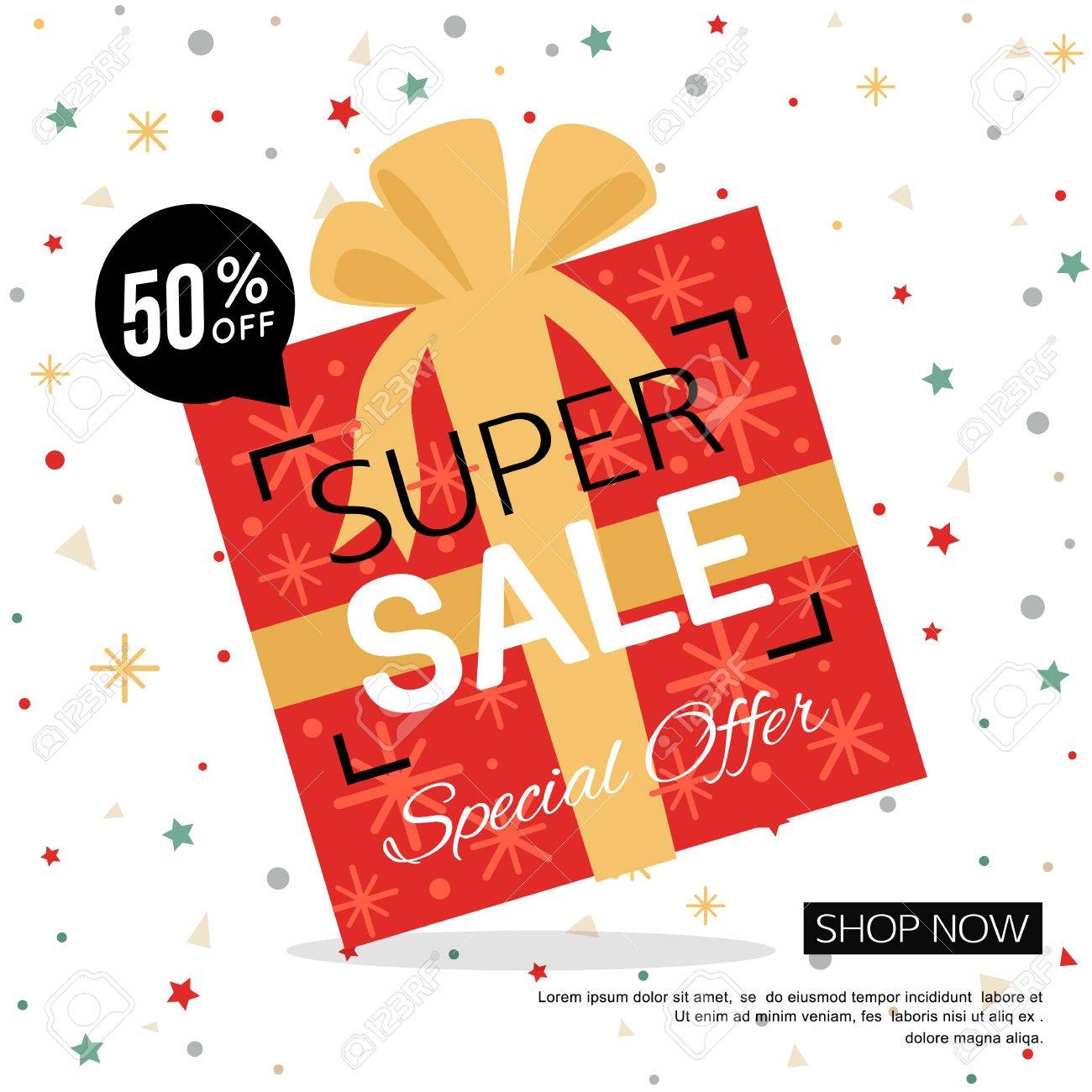 Christmas Gift Box Sale Banner. Shop Poster Design Vector ...
