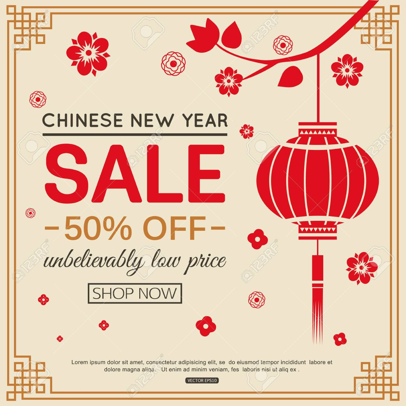 chinese new year sale banner design with paper lantern for online shopping tree branch and