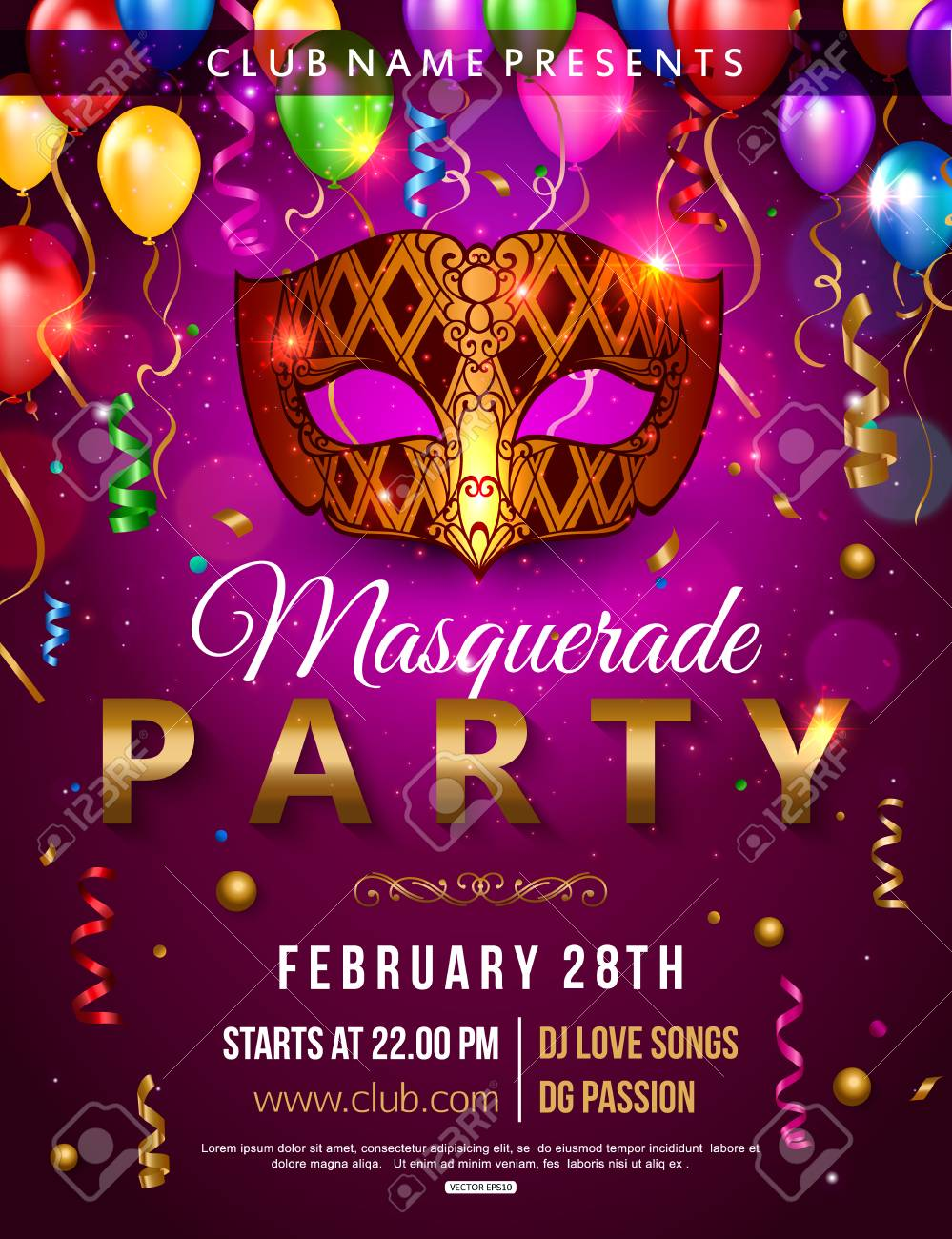 masquerade party flyer design with carnival mask balloon confetti