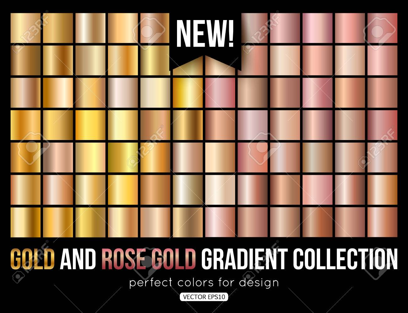 Rose gold gradient collection. Trend colors. Vector metal texture. - 72523117