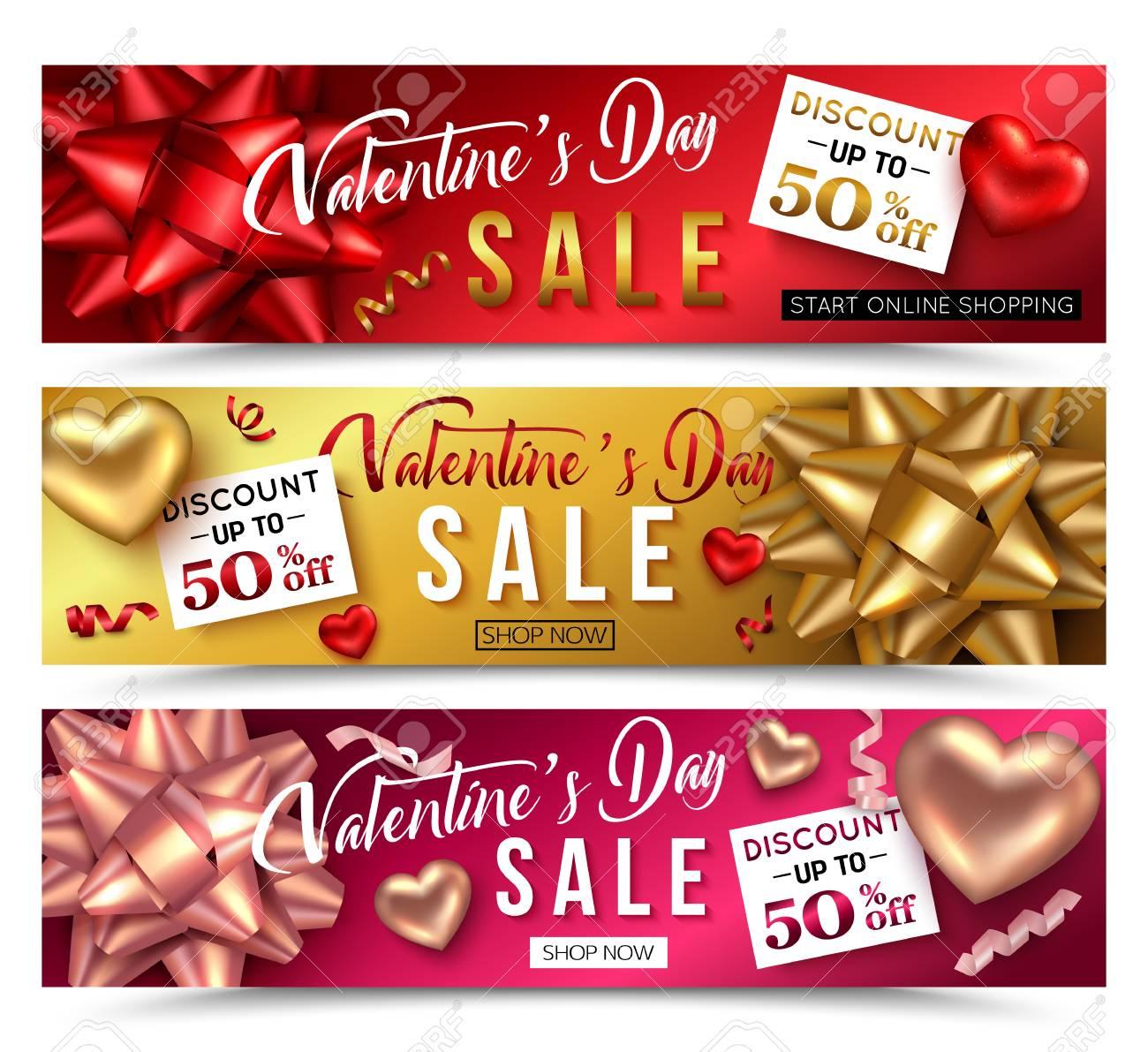 Set Von Valentinstag Verkauf Banner Für Online-Shop. Vektor ...