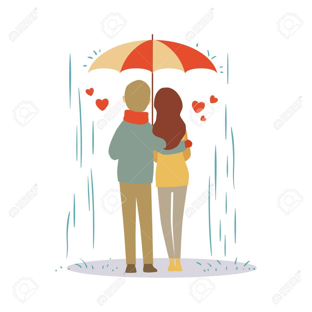 Lovers Couple Cartoon In The Rain Vector Illustration Royalty Free