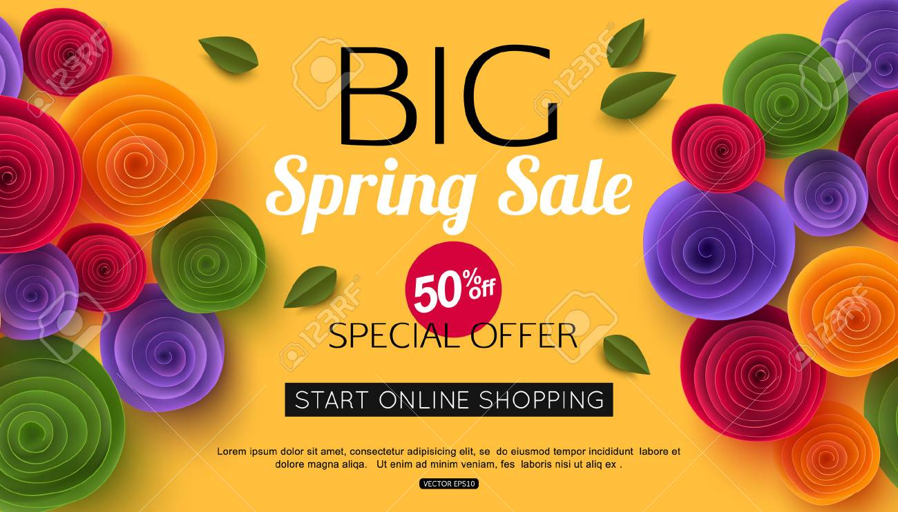 illustration spring sale banner with paper flowers for online shopping advertising actions magazines and websites vector illustration