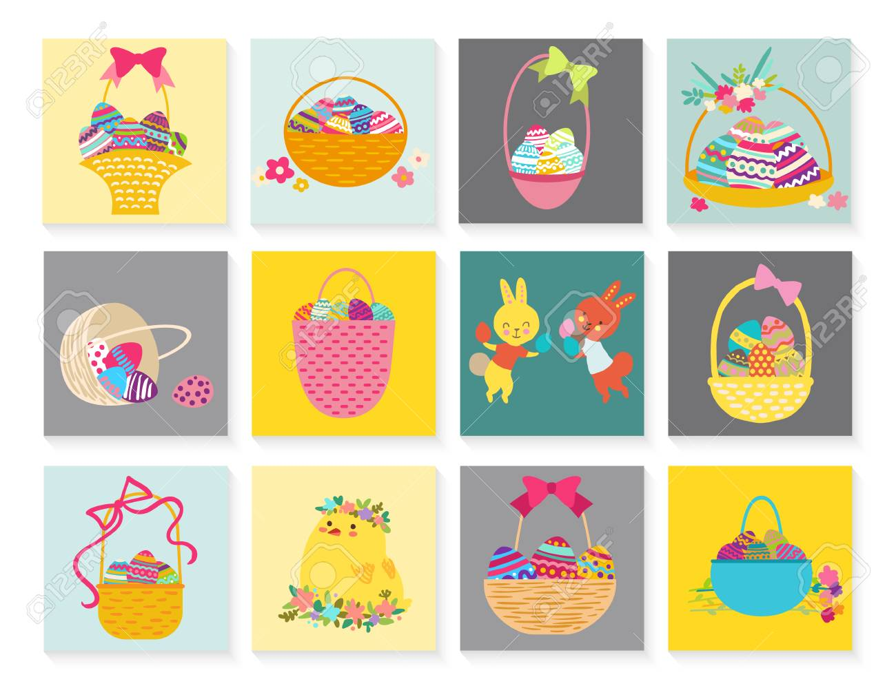 Set Of Easter Greeting Card For Kids With Bunny Chick Egg Royalty