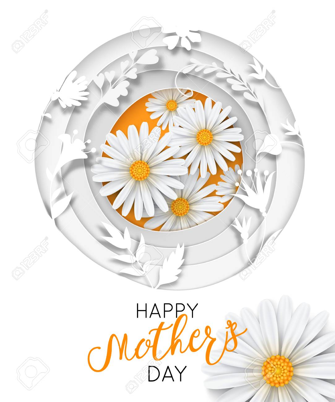 Happy Mothers Day Greeting Card With Typographic Design Beautiful