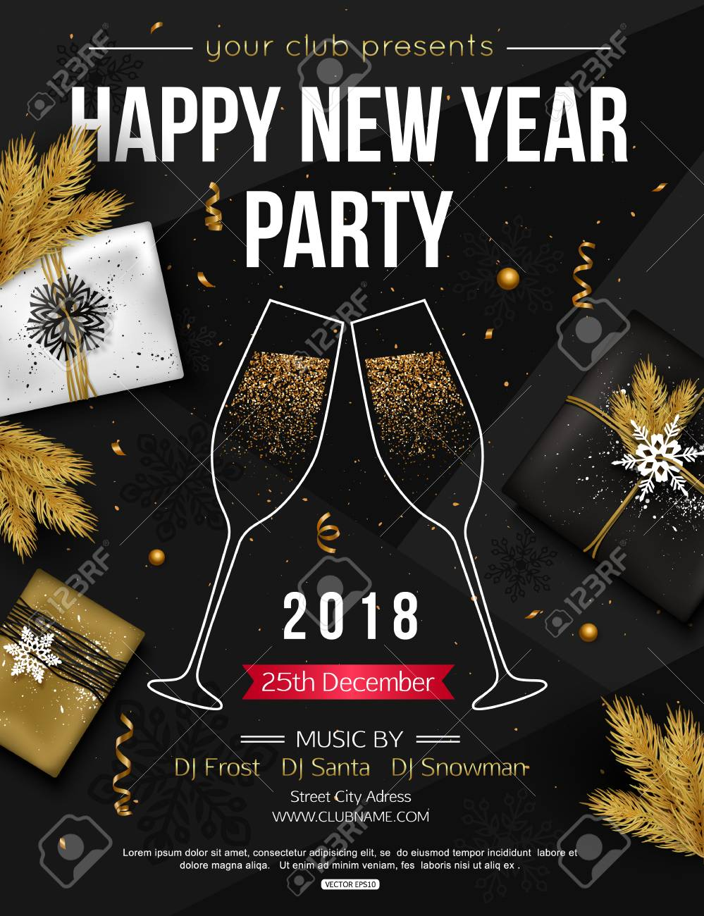 happy new year party flyer template with glasses of champagne vector illustration stock vector