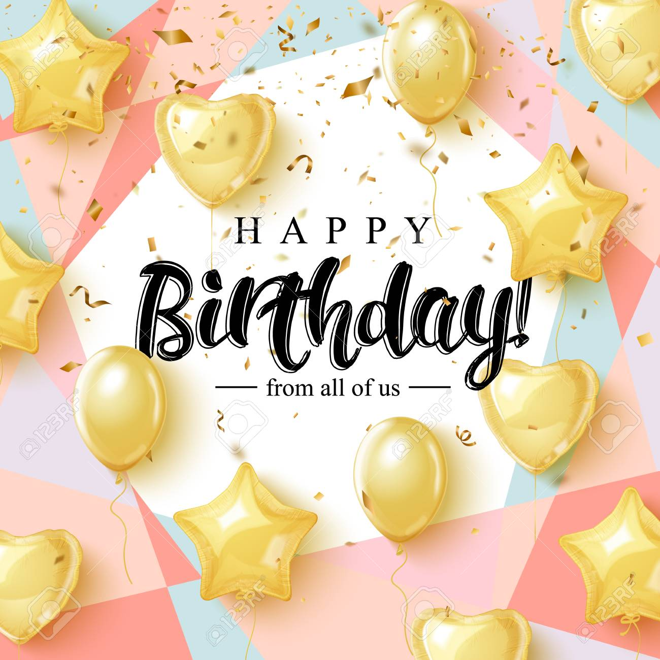 Happy Birthday celebration typography design for greeting card, poster or banner with realistic golden balloons and falling confetti. - 96055653