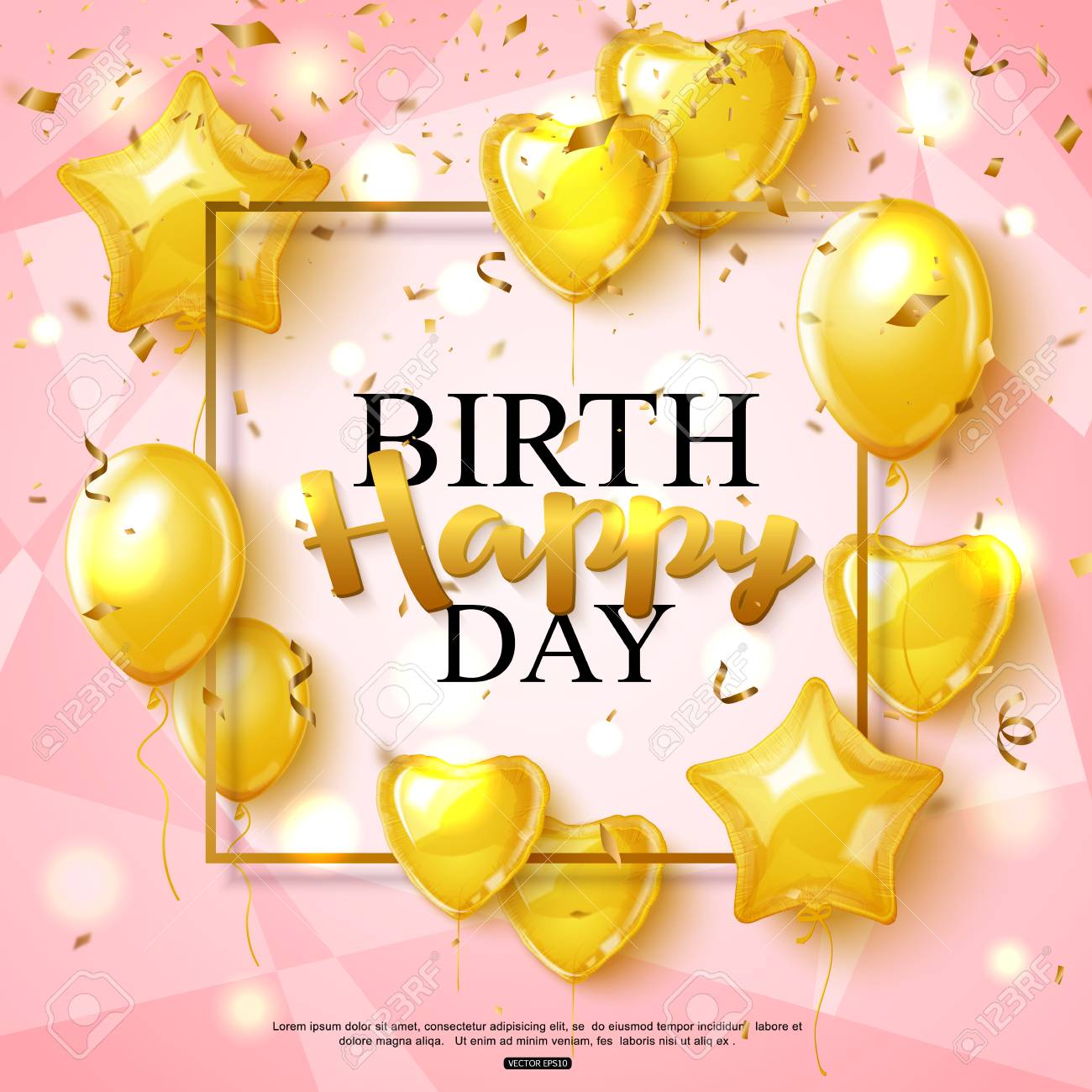 Birthday Greeting Card On Shiny Pink Background With Golden Balloon