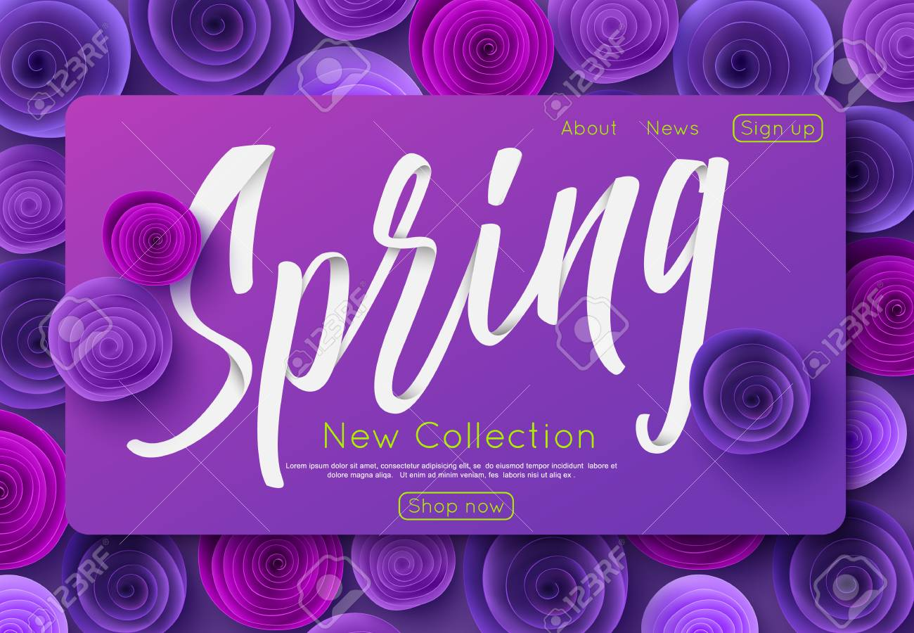 Ultra violet spring new collection banner design for online shopping,