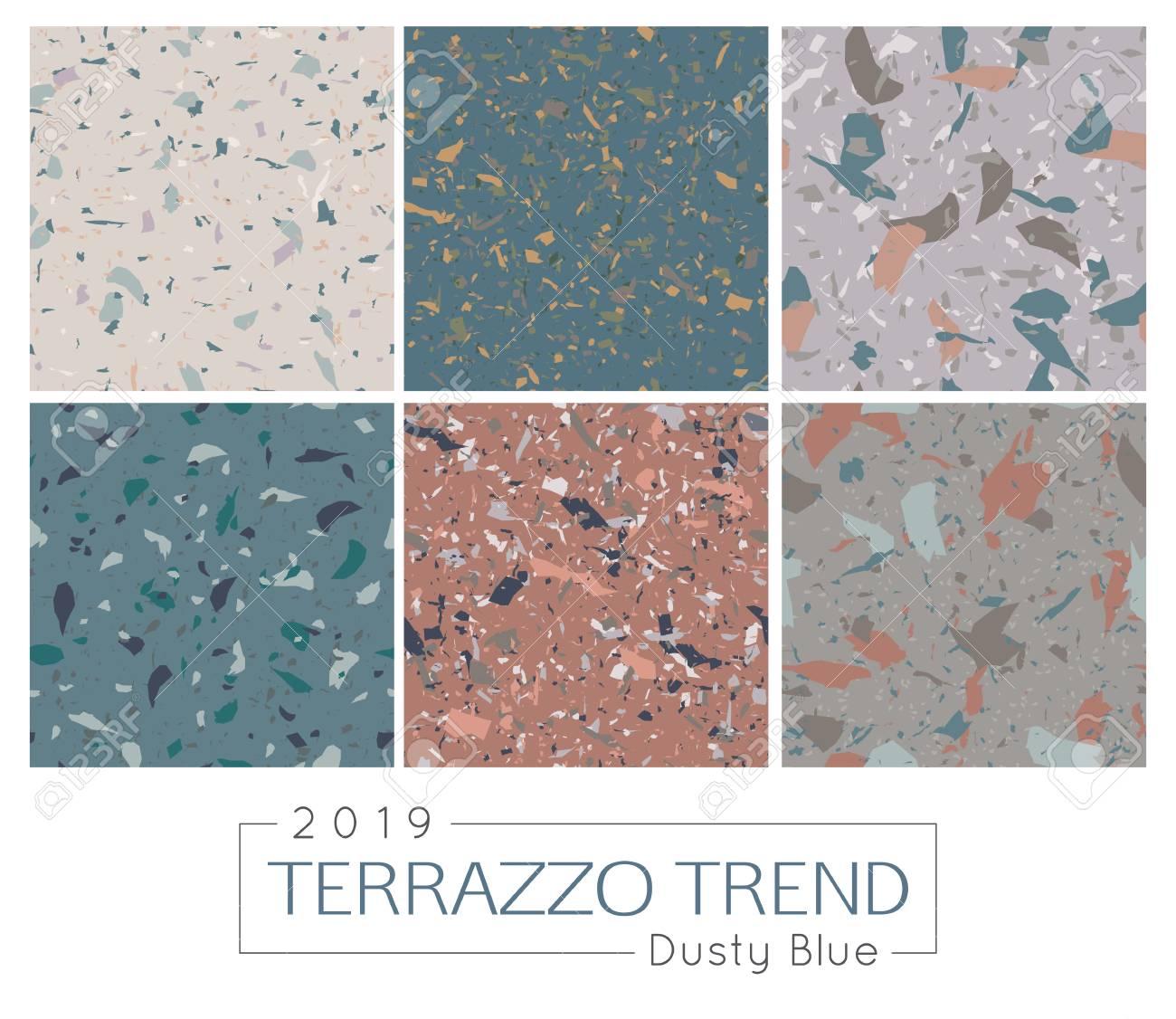 Set Of Six Terrazzo Patterns Italian Natural Mosaic Floors Vector