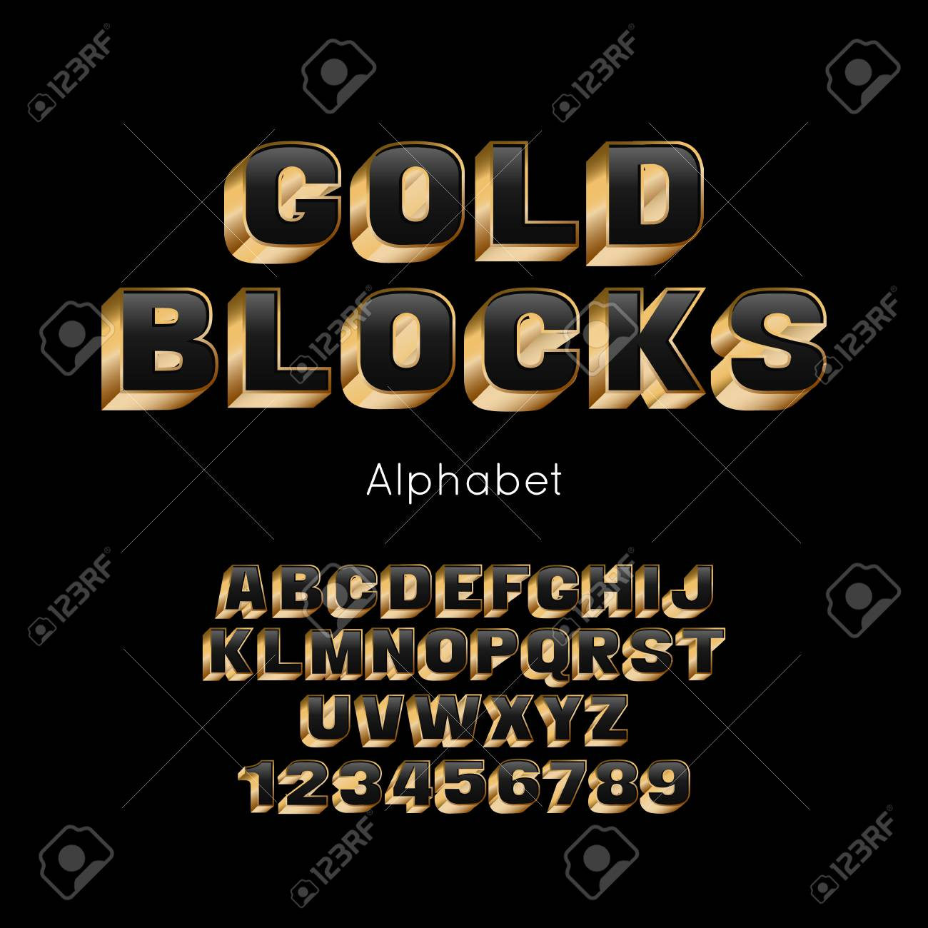 Vector Gold Blocks alphabet and font  3d letters and numbers