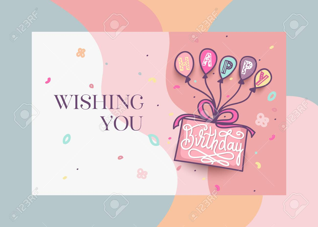 Outstanding Happy Birthday Greeting Card Design With Cake Colorful Balloons Personalised Birthday Cards Paralily Jamesorg