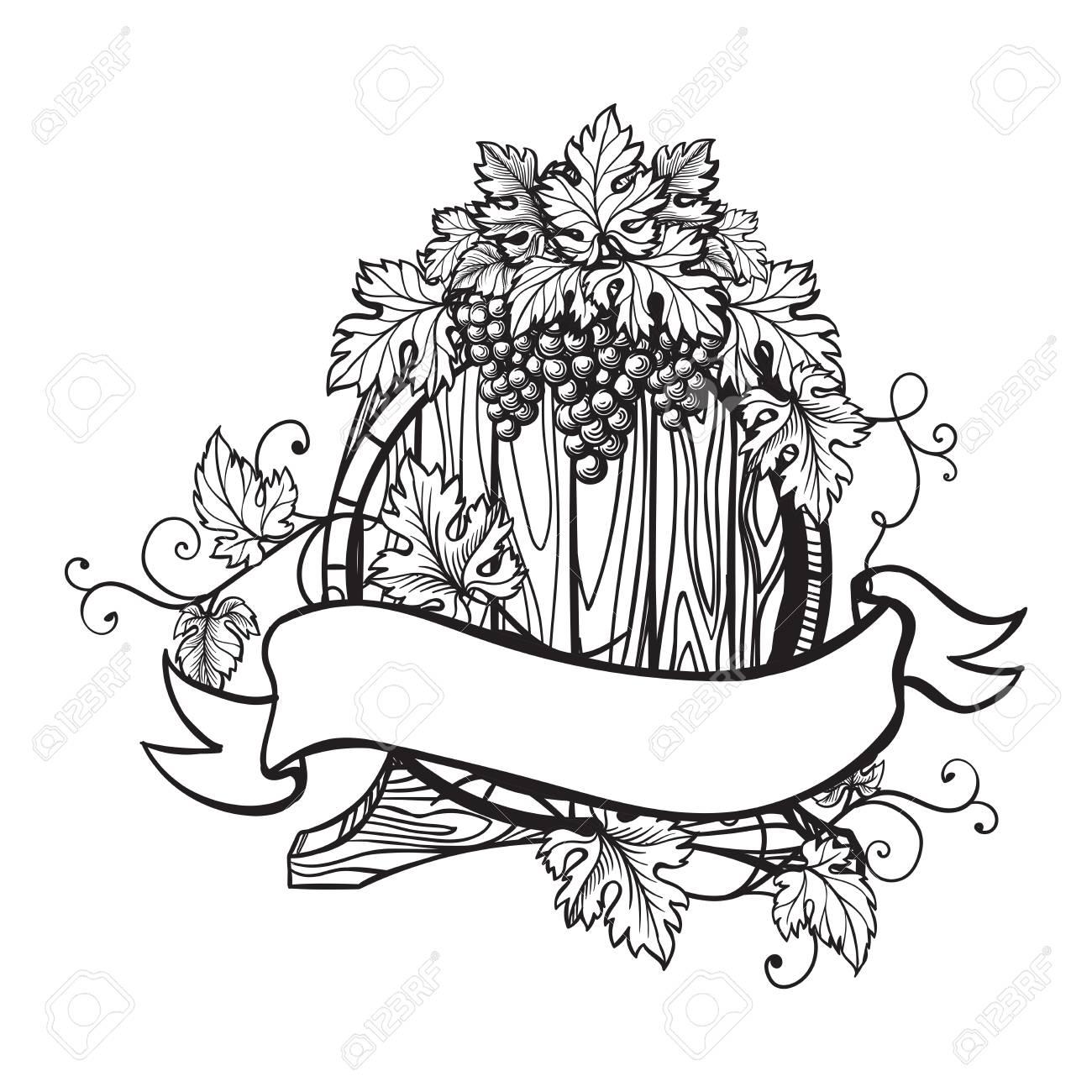 Vector sketch of grapes, wine barrel on background for design