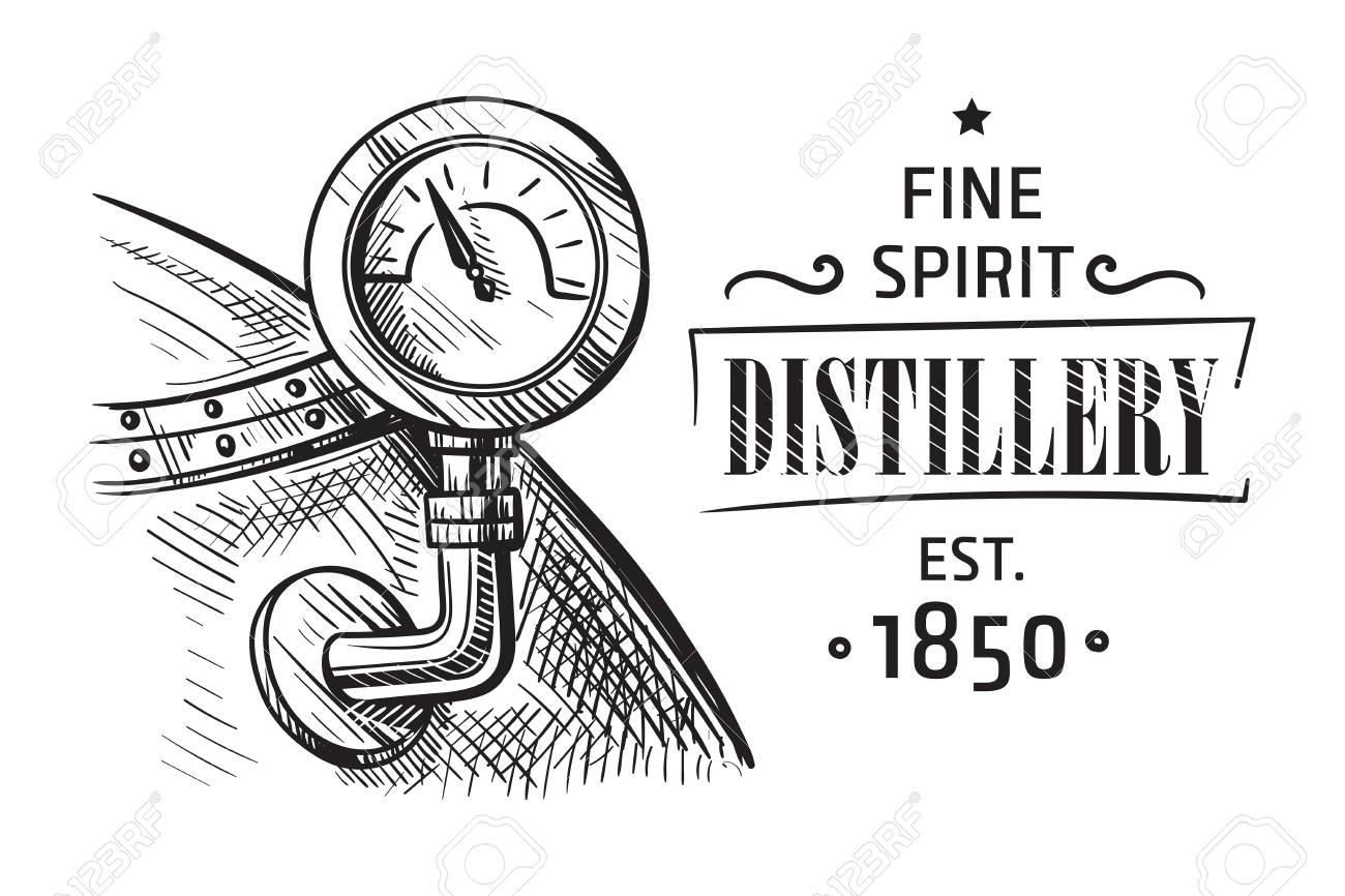 Alembic still for making alcohol inside distillery, distilling spirits sketch. - 98426770