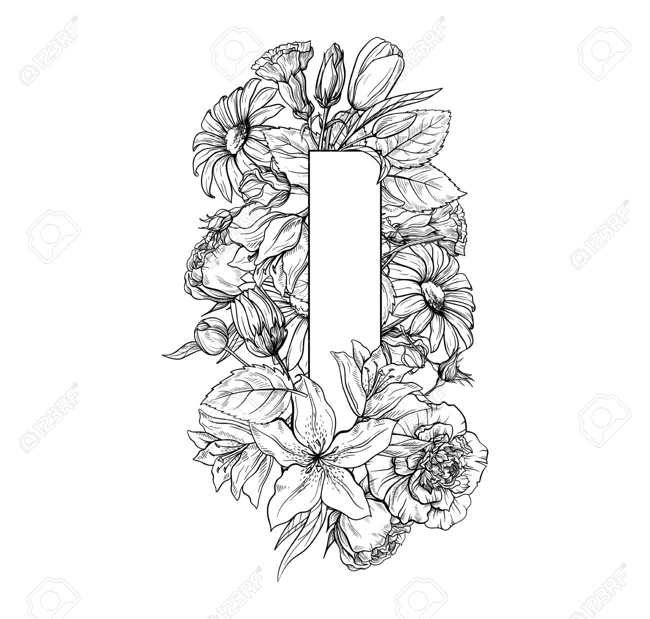 Vintage Flower Alphabet Hand Drawn Vector Illustration Isolated Royalty Free Cliparts Vectors And Stock Illustration Image 99864081