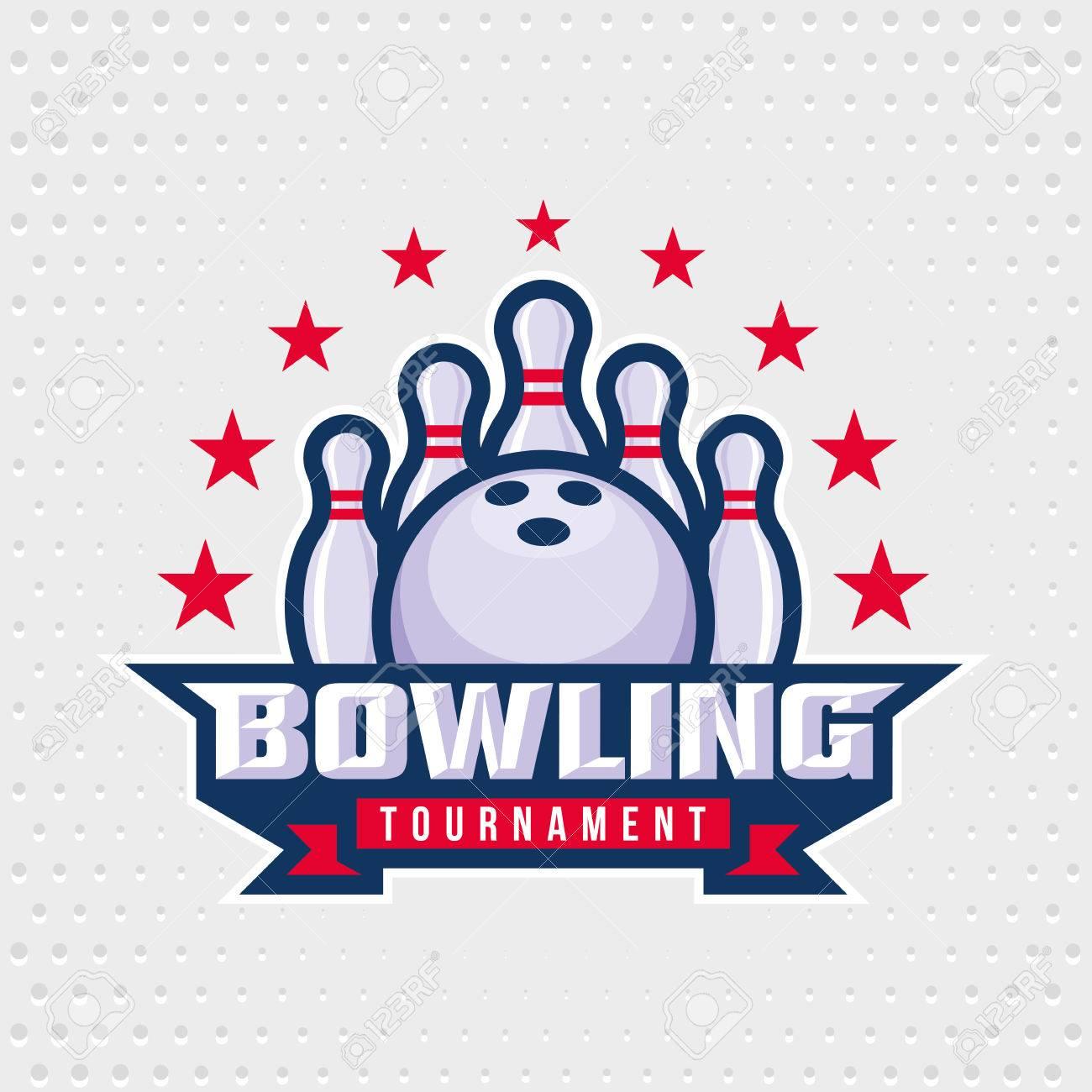 Bowling logo design template, emblem tournament template editable for your design. - 51245862