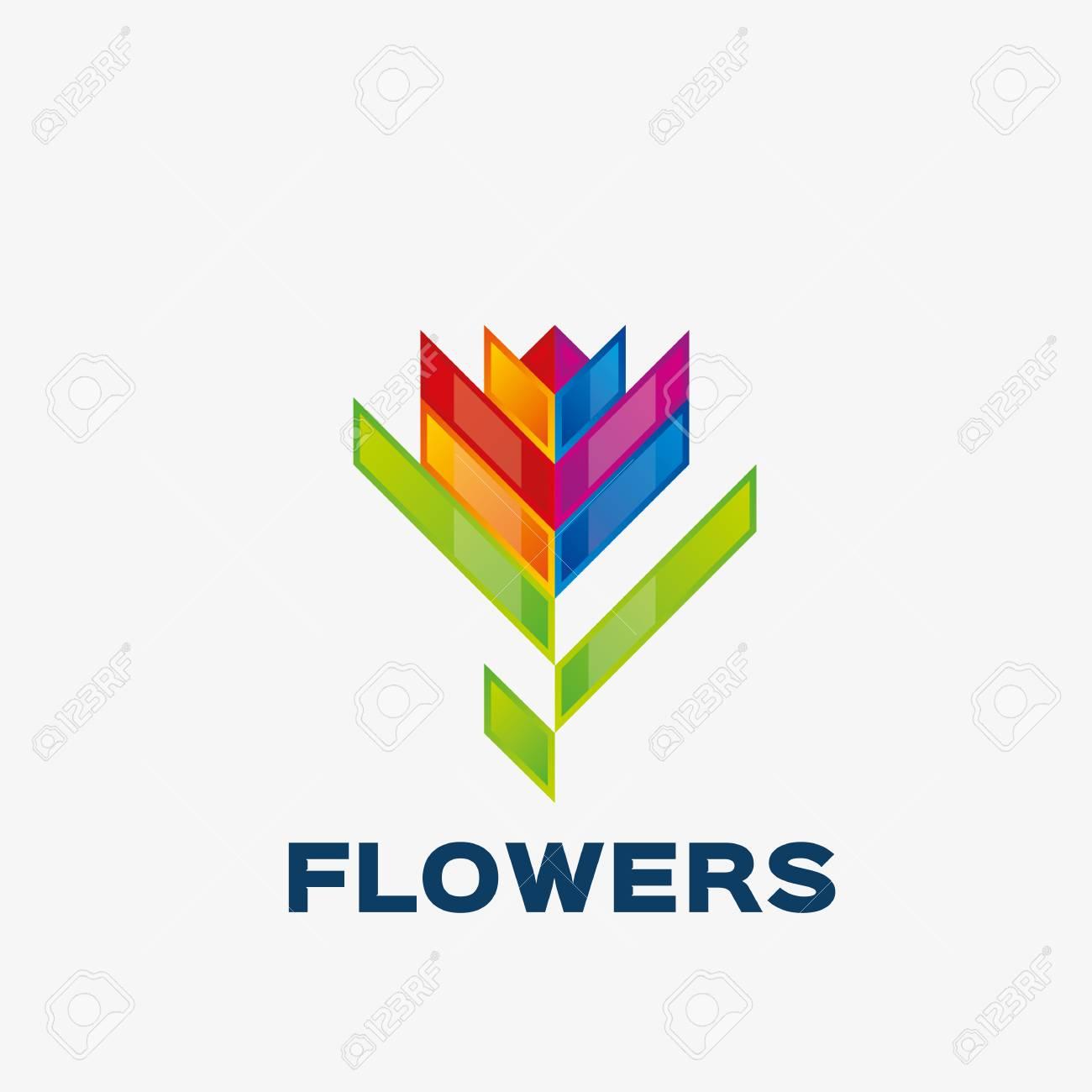 bdcaf48202ede Banque d'images - Logo de fleur abstraite. Modèle de conception de logo  d'entreprise abstraite. Modèle de logo modifiable pour votre entreprise.