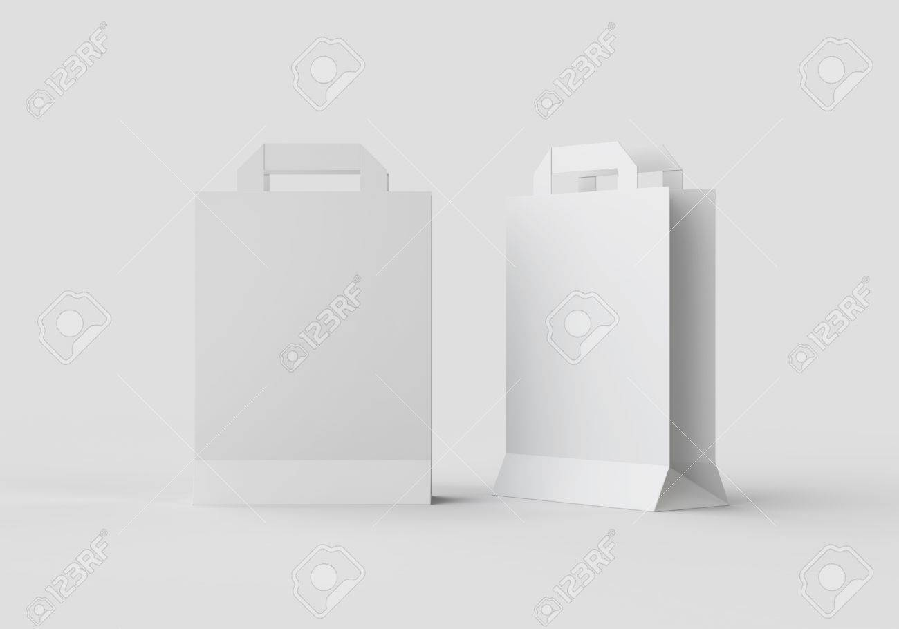 White Paper Bag Mock-up Template For Branding Identity On Gray ...