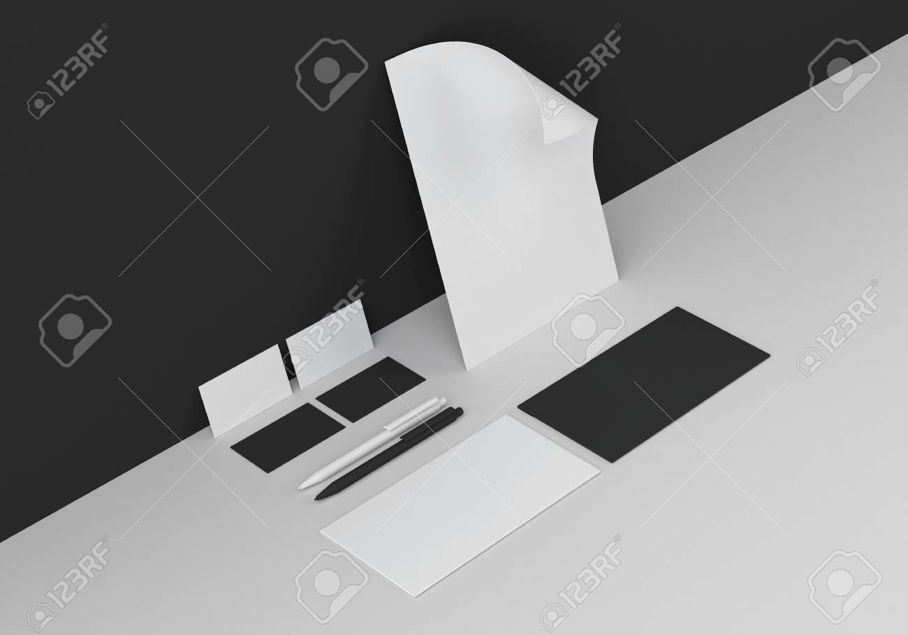 Base black and white stationery mock-up template for branding identity in corner for graphic designers presentations and portfolios. 3D rendering. - 75221141