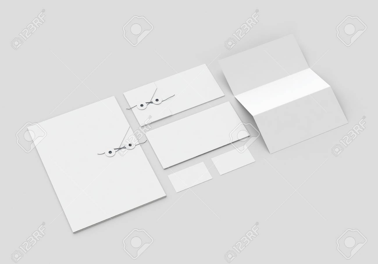 Base white stationery mock-up template for branding identity on gray background for graphic designers presentations and portfolios. 3D rendering. - 78264709