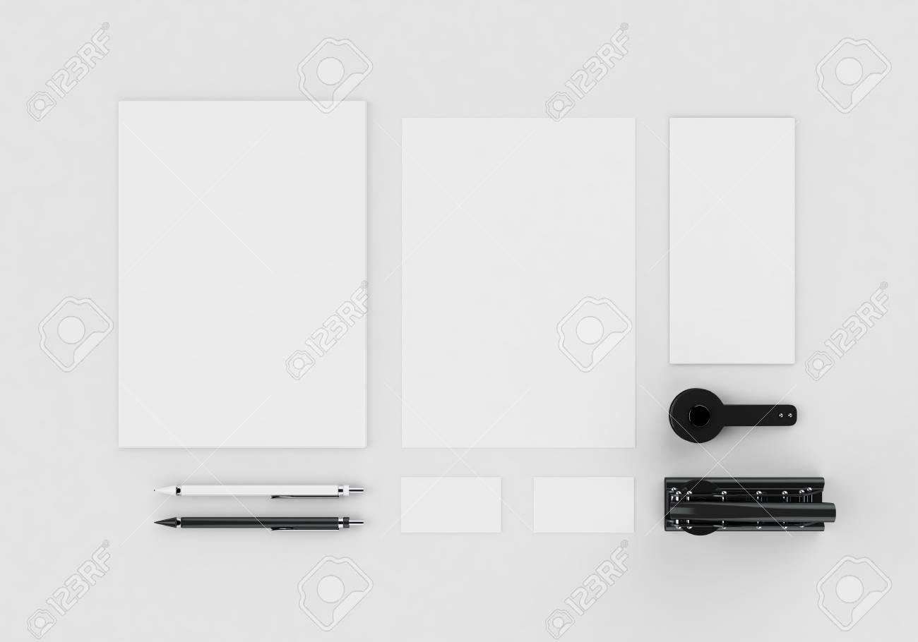 Base white stationery mock-up template for branding identity on gray background for graphic designers presentations and portfolios. Embossing stamp. 3D rendering. - 89452519