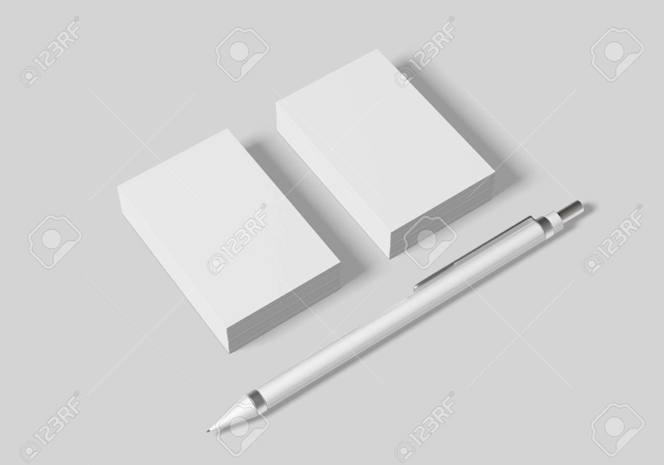 Business card mockup template for branding identity on white background for graphic designers presentations and portfolios. 3D rendering. - 103162991