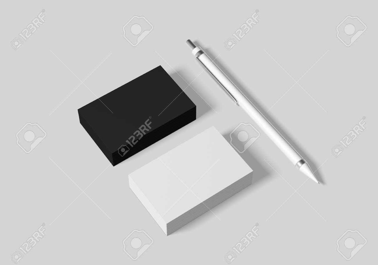 Business Card Mockup Template For Branding Identity On White Stock - Business card mockup template