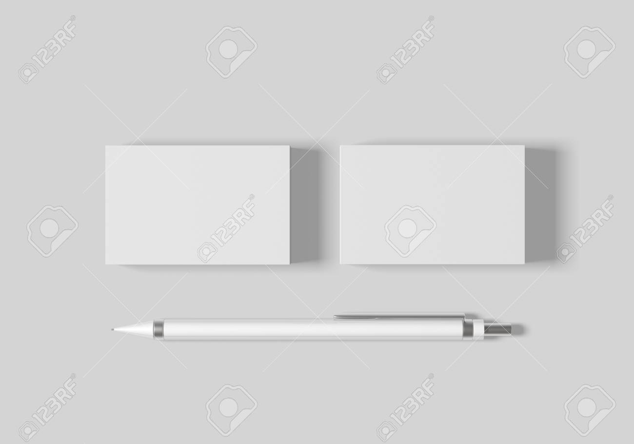 Business card mockup template for branding identity on white background for graphic designers presentations and portfolios. 3D rendering. - 103212495