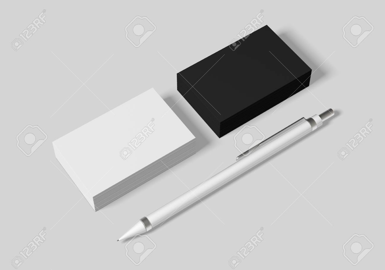 Business card mockup template for branding identity on white background for graphic designers presentations and portfolios. 3D rendering. - 103212496