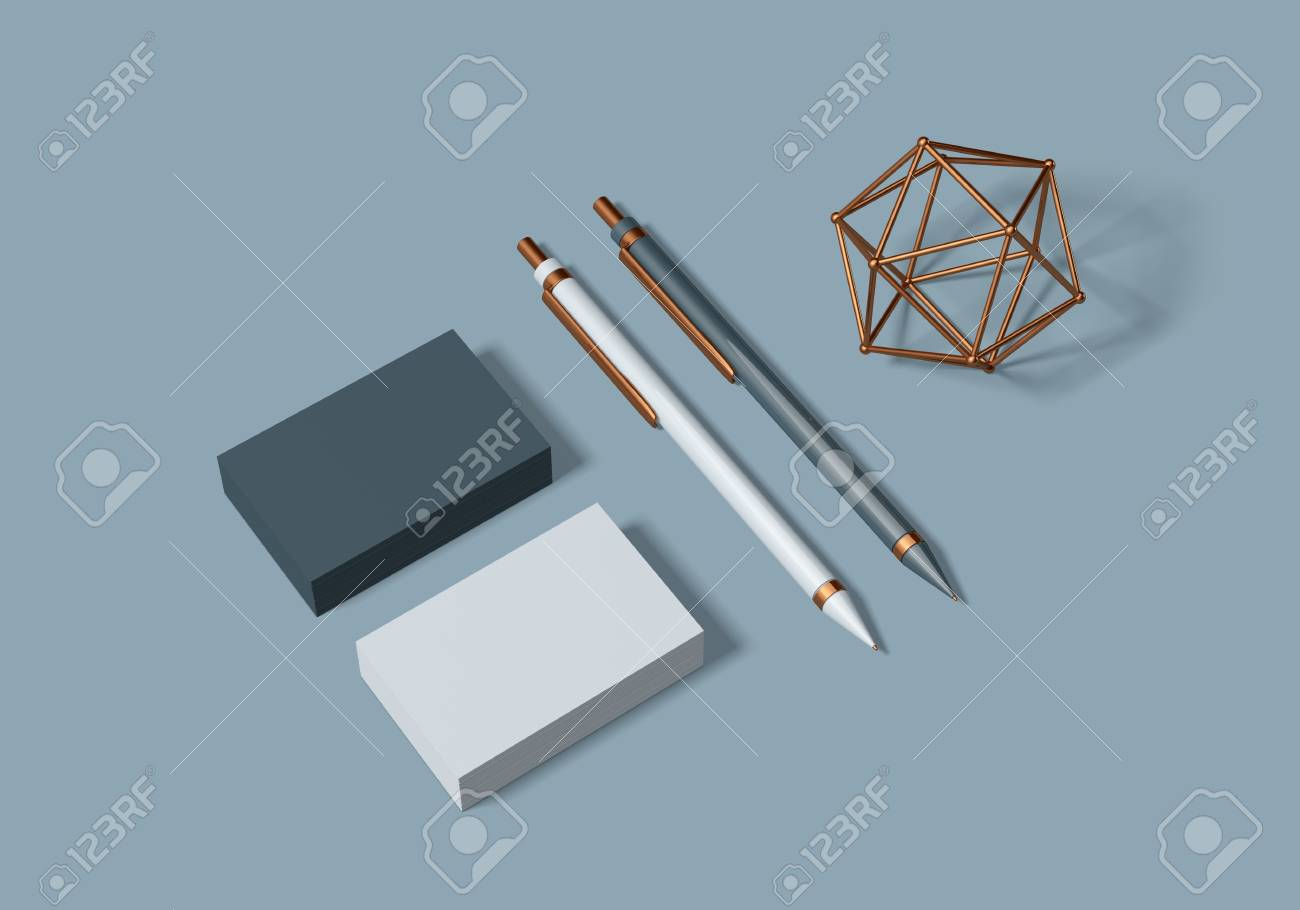 Grey and blue base stationery mockup template for branding identity for graphic designers presentations and portfolios. 3D rendering. - 104619999