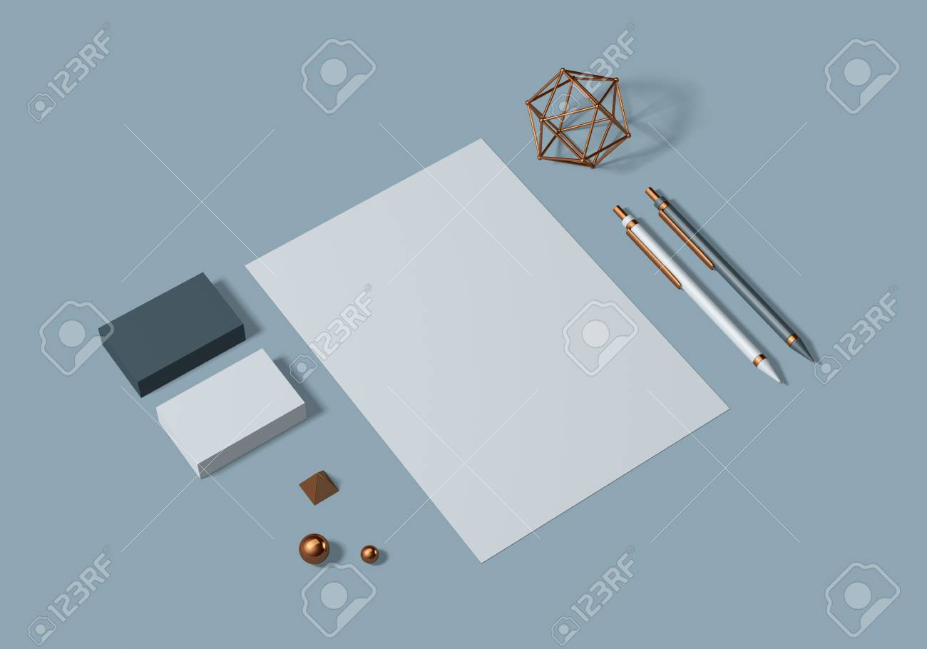 Grey and blue base stationery mockup template for branding identity for graphic designers presentations and portfolios. 3D rendering. - 104620000