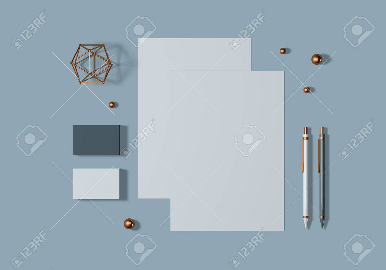 Grey and blue base stationery mockup template for branding identity for graphic designers presentations and portfolios. 3D rendering. - 104620002