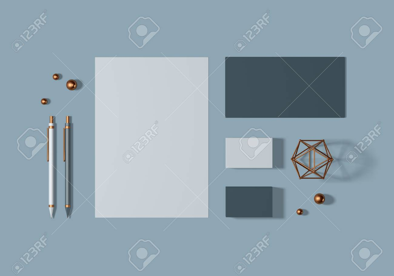 Grey and blue base stationery mockup template for branding identity for graphic designers presentations and portfolios. 3D rendering. - 104620005