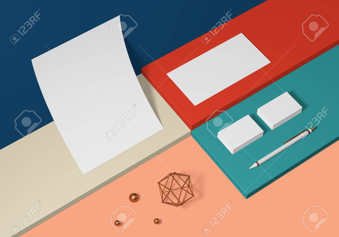 White base stationery mockup template on a colored background for branding identity for graphic designers presentations and portfolios. 3D rendering. - 104525895