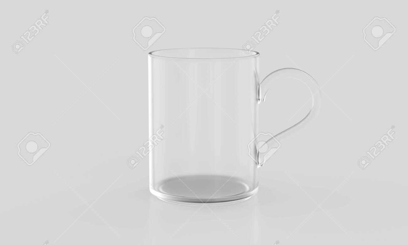 Transparent glass mug on light background mockup. 3d rendering - 134584932