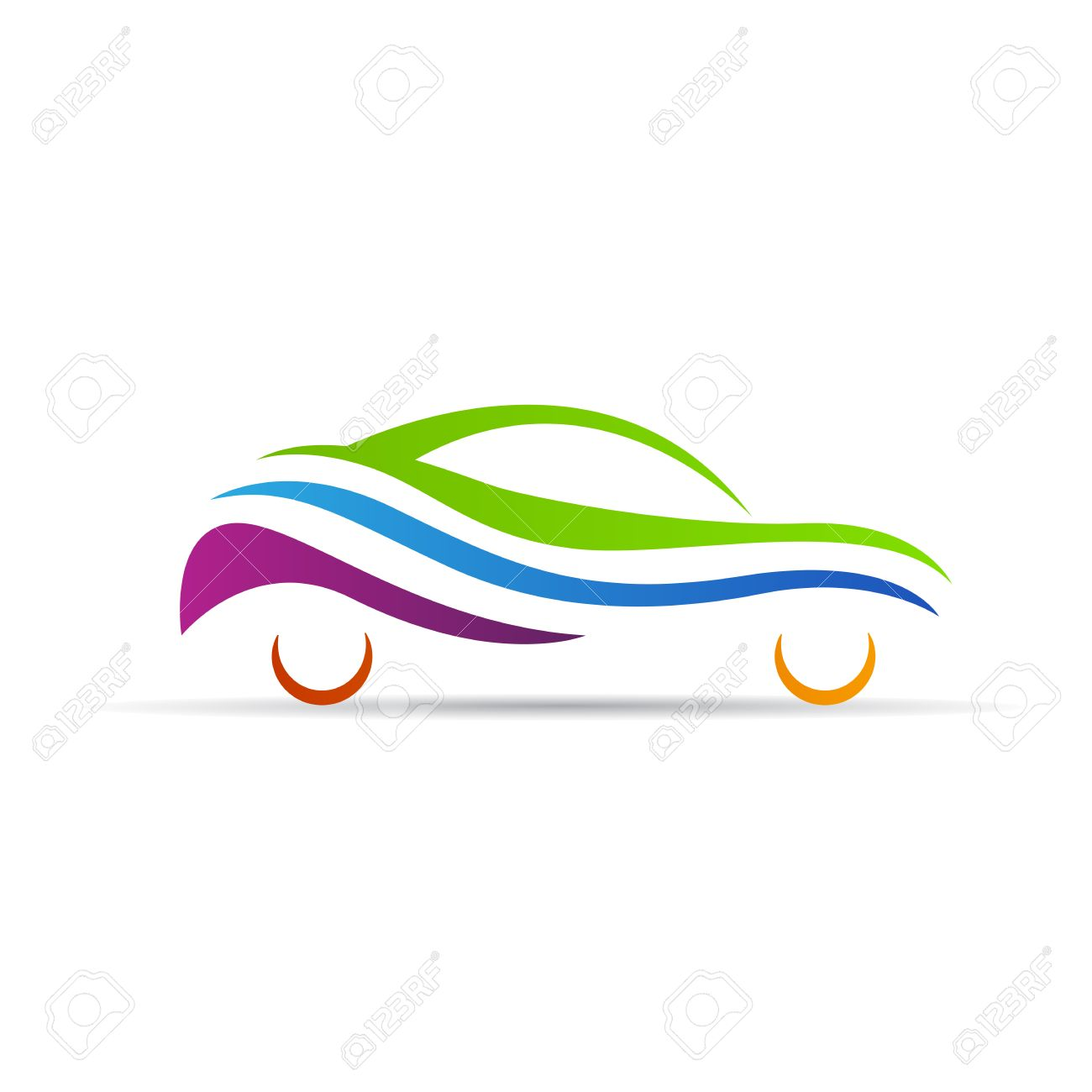 abstract car logo vector design isolated on white background