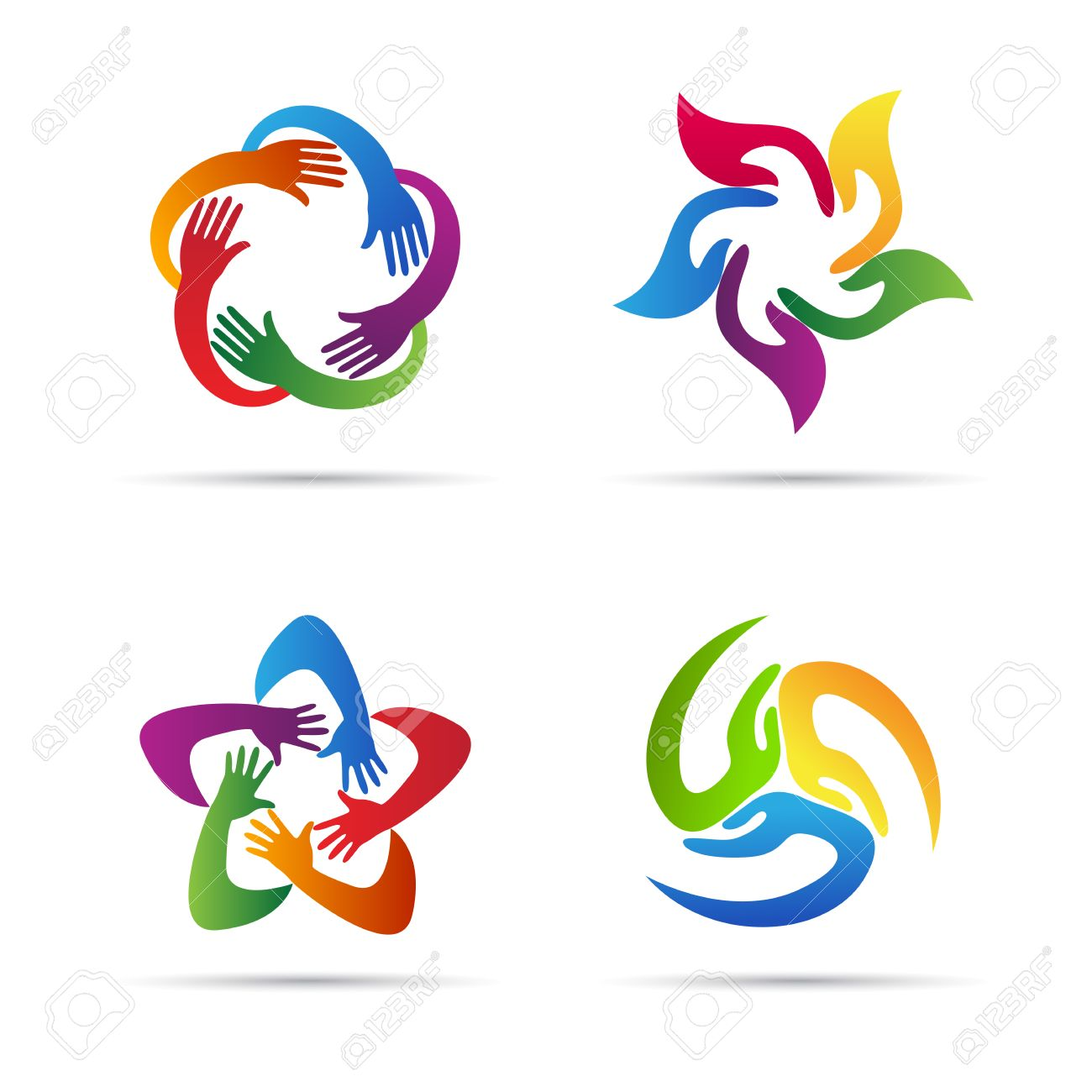 abstract hands vector design represents teamwork unity signs