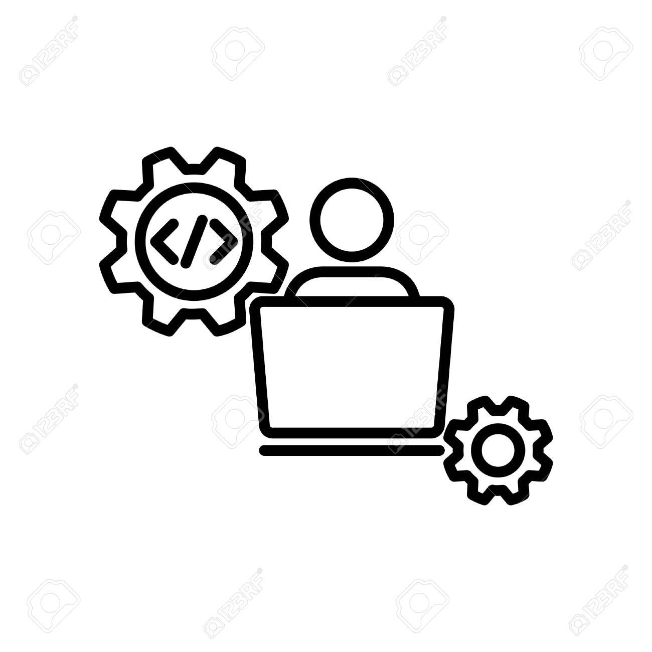 doveloper icon, vector line illustration - 127672101