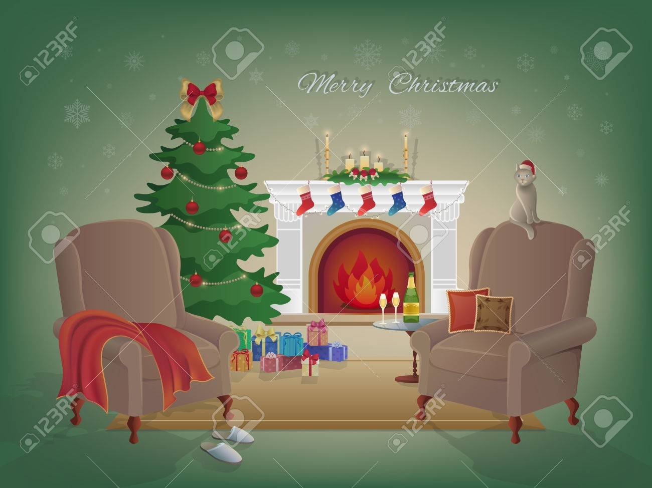 Merry Christmas Home Interior With A Fireplace Christmas Tree