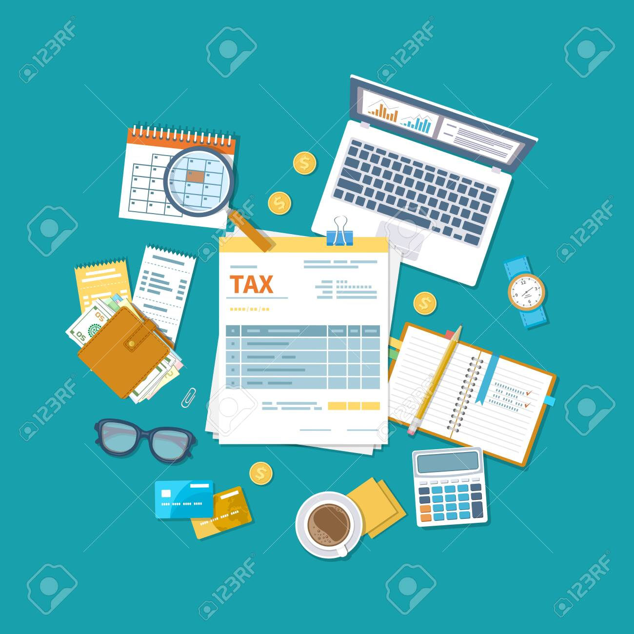 Tax payment concept. State Government taxation, calculation of tax return. Unfilled blank tax form, calendar, magnifier, money, notebook, calculator, coins, glasses, watches, documents, computer. - 150957417