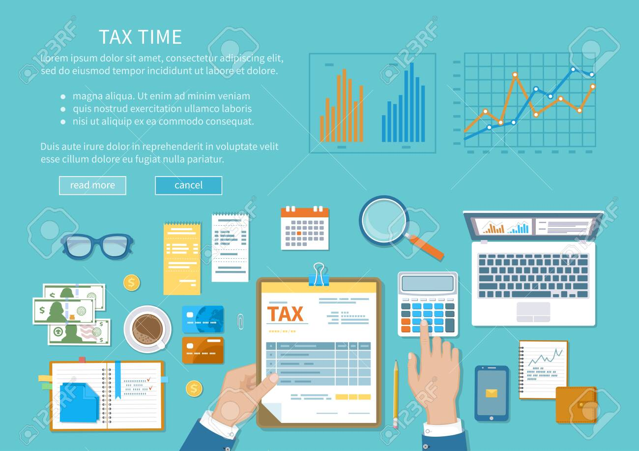Tax payment concept. State Government taxation, calculation of tax, return. Unfilled blank tax form, calendar, magnifier, money, notebook, calculator, coins, glasses, watches, documents, laptop. - 150959898