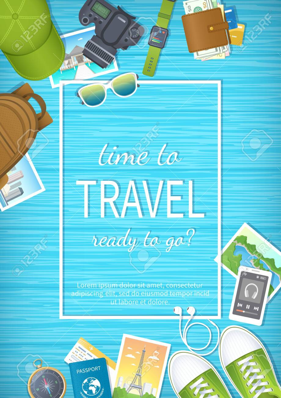 Time to travel web banner design. Summer holiday, preparing for vacation, travels, journey. Top view of luggage, photos, air ticket, passport, wallet, camera, compass, shoes, watch Vector illustration - 152108820