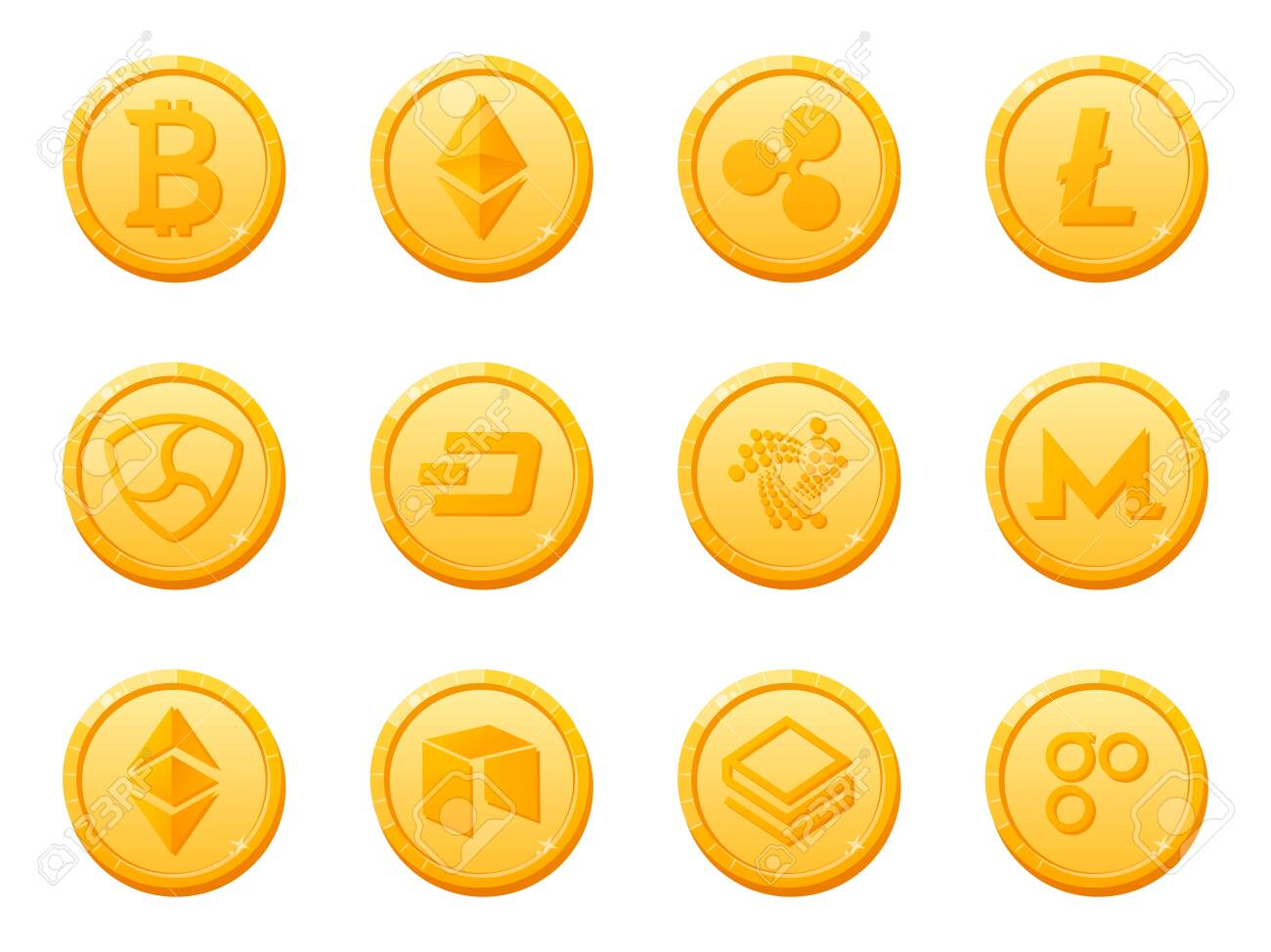 Set of 12 gold coins crypto currency icon. Top digital electronic currency by market capitalization. Bitcoin, Ethereum, Ripple, Litecoin, Dash, NEM, Monero and others. Vector - 154097918