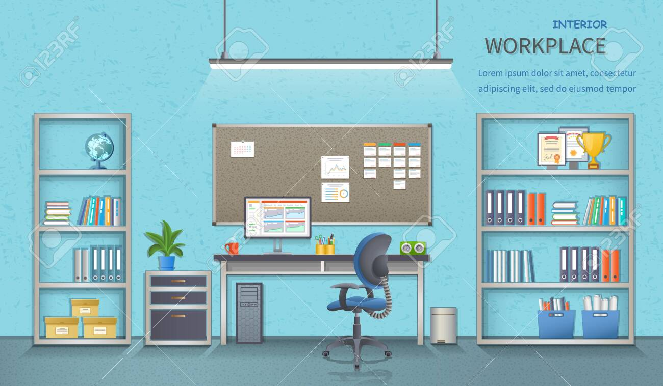 Stylish and modern office workplace. Room interior with desk, armchair, monitor, note-board, office supplies, flowerpot, globe, folders, documents. Detailed vector illustration for web banner. - 153792023