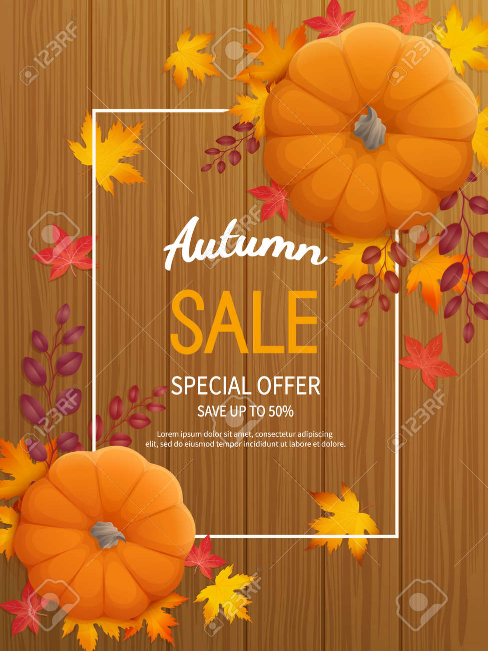Vertical banner flyer with pumpkin, leaves on a wooden table Special seasonal offer. - 154412860
