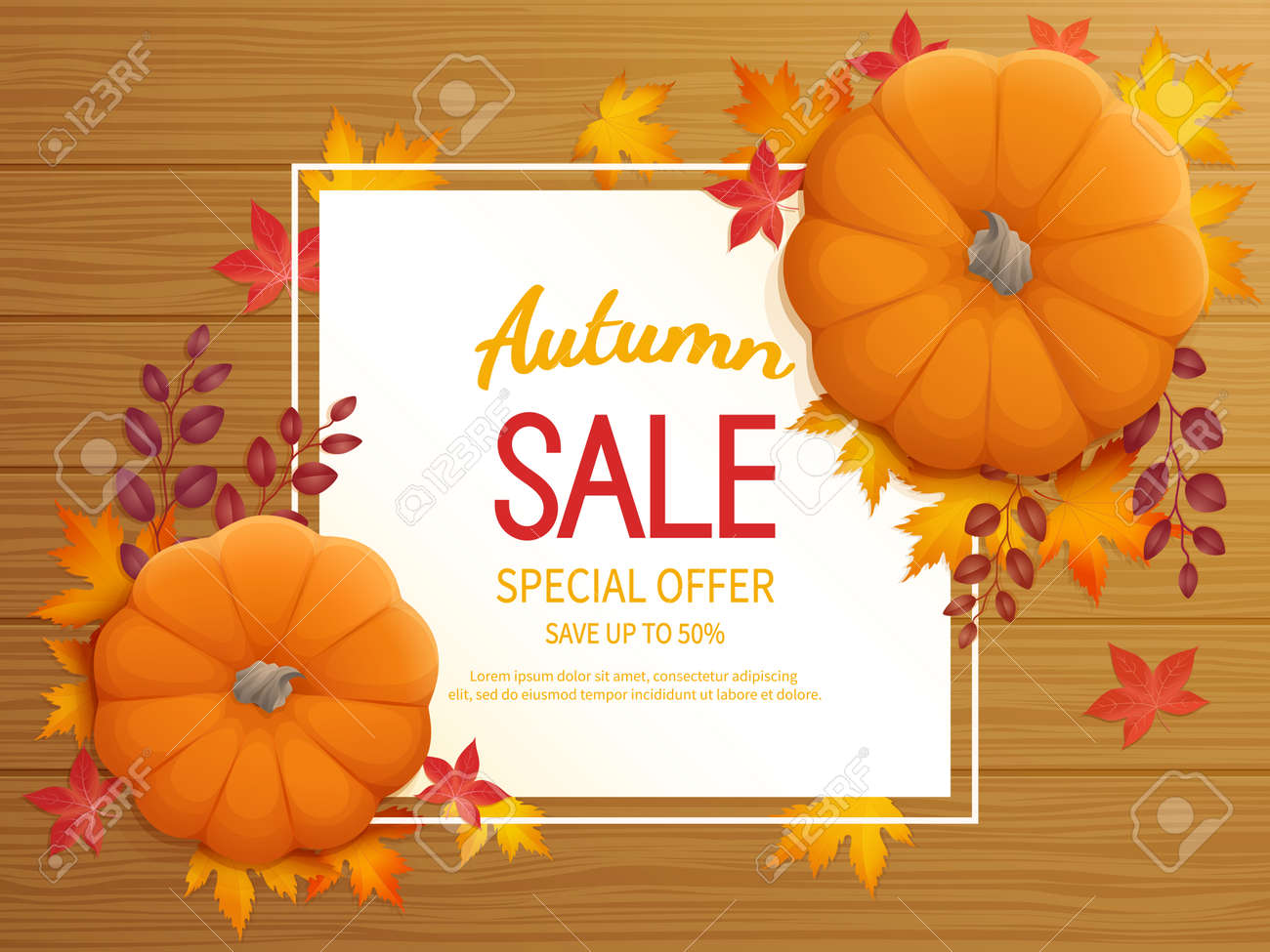 Horizontal banner flyer with pumpkin, leaves on a wooden table Special seasonal offer. - 154412690