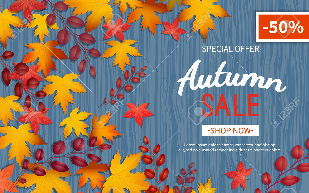 Autumn discount flyer. Special offer, big seasonal sale, great discounts. Horizontal banner with yellow and red leaves. Vector illustration. Top view - 155410470