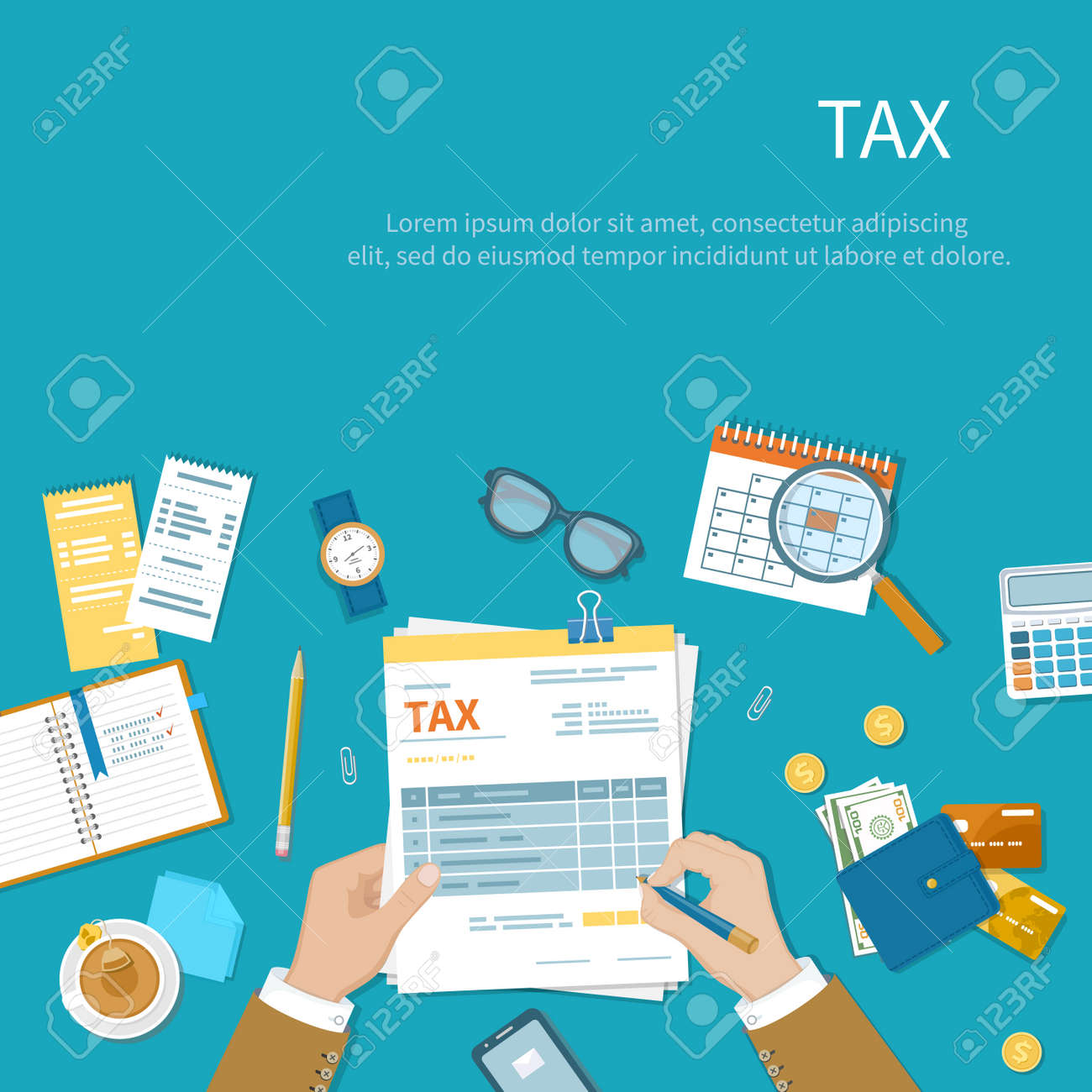 Tax calculation payment concept. Businessman fills the form of taxation. Forms, documents, wallet, credit cards, calculator, tea, glasses, notebook, calendar. Vector illustration background - 155410464