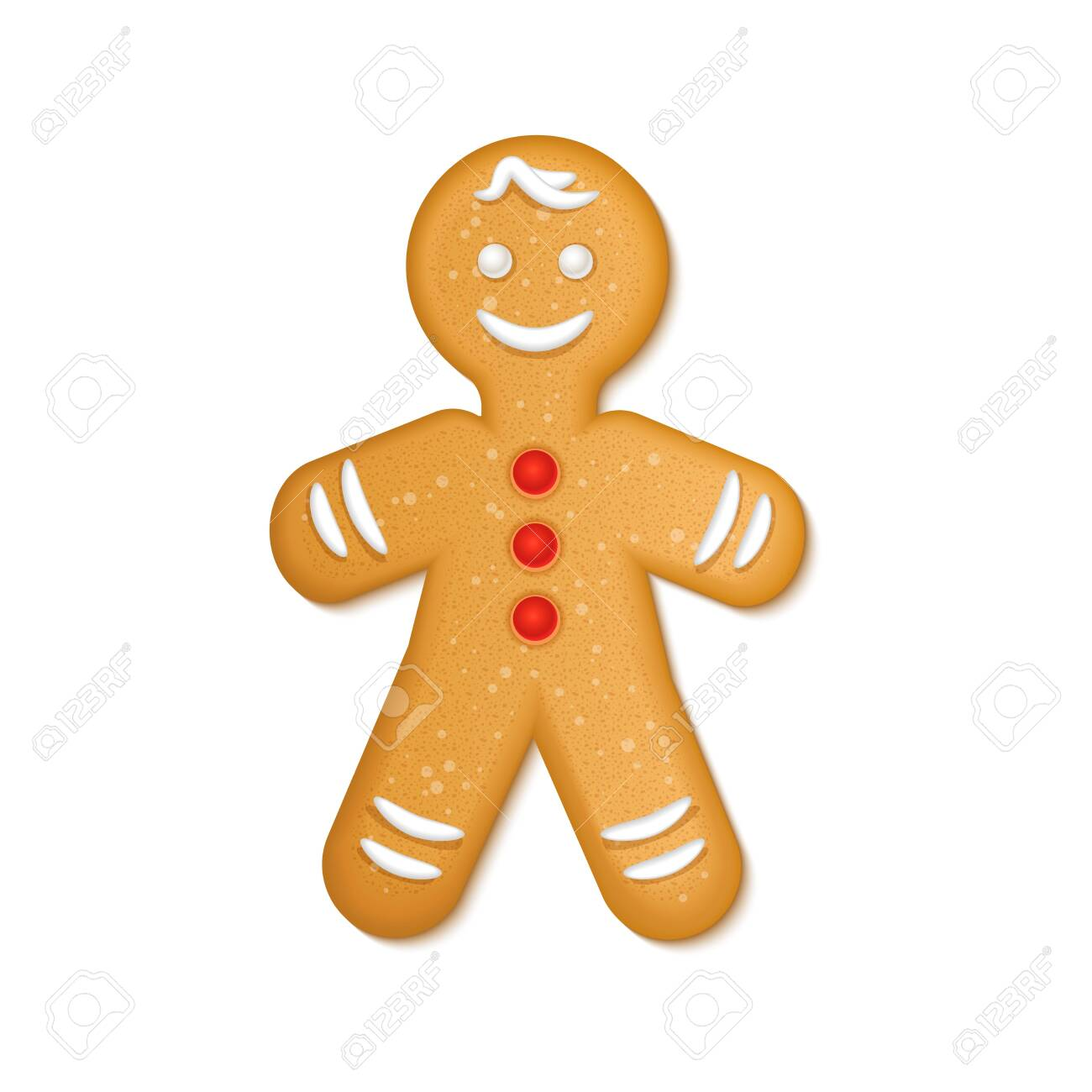 Gingerbread man with red candies and white icing. Christmas Greeting Cookies. New Year winter holidays traditional dessert. Vector illustration isolated on white background. - 155410466